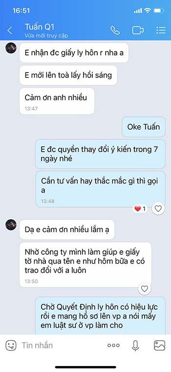 feedback Mr Tuan về dịch vụ ly hôn nhanh Centalaw