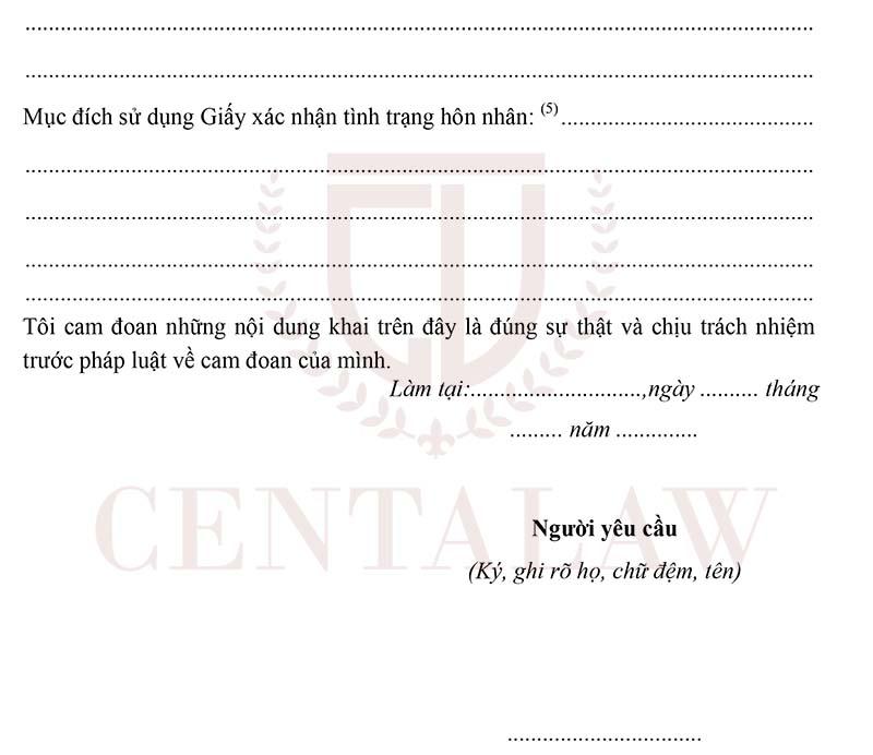 Mẫu tờ khai cấp giấy các nhận tình trạng hôn nhân tờ 2